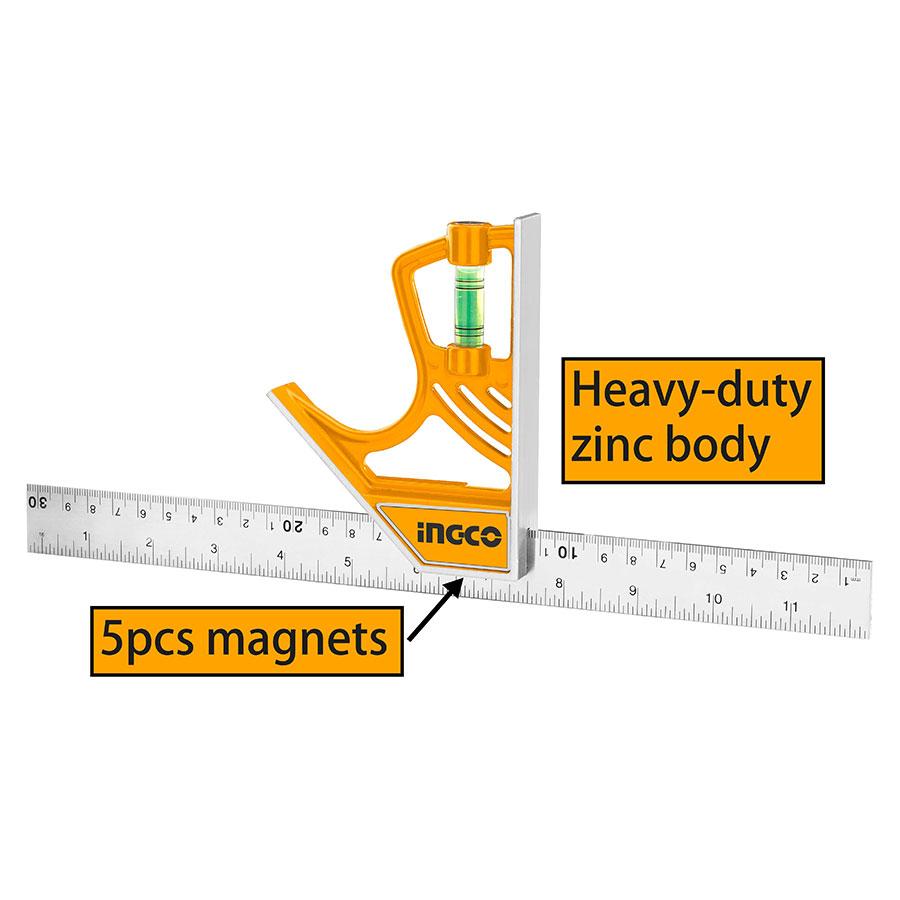 Γωνία μαγνητική 30cm με αλφάδι HSR530255 INGCO