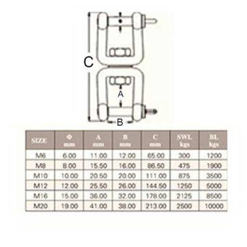 Στριφτάρι INOX 10mm Κίνας SS316 ΑΣ4103
