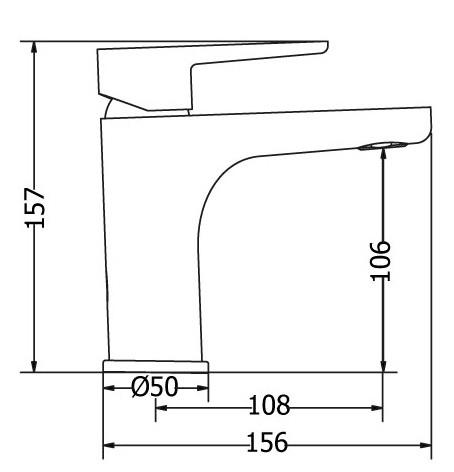 Μπαταρία νιπτήρα μπάνιου χρωμέ- μαύρη OPTIMA MODEA 2520
