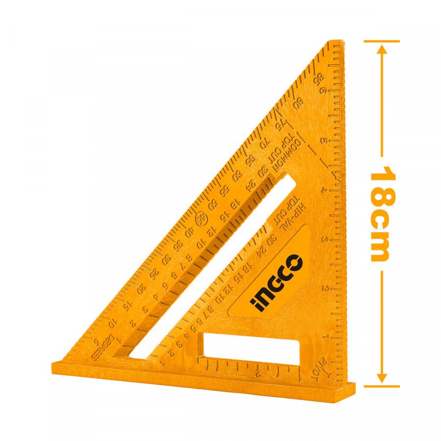 Τρίγωνο- Μοιρογνωμόνιο 18cm HAS20202 INGCO